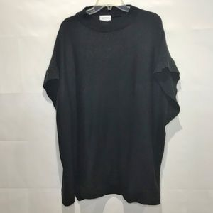 Avenue Black Knit Pullover Poncho Sweater One Size